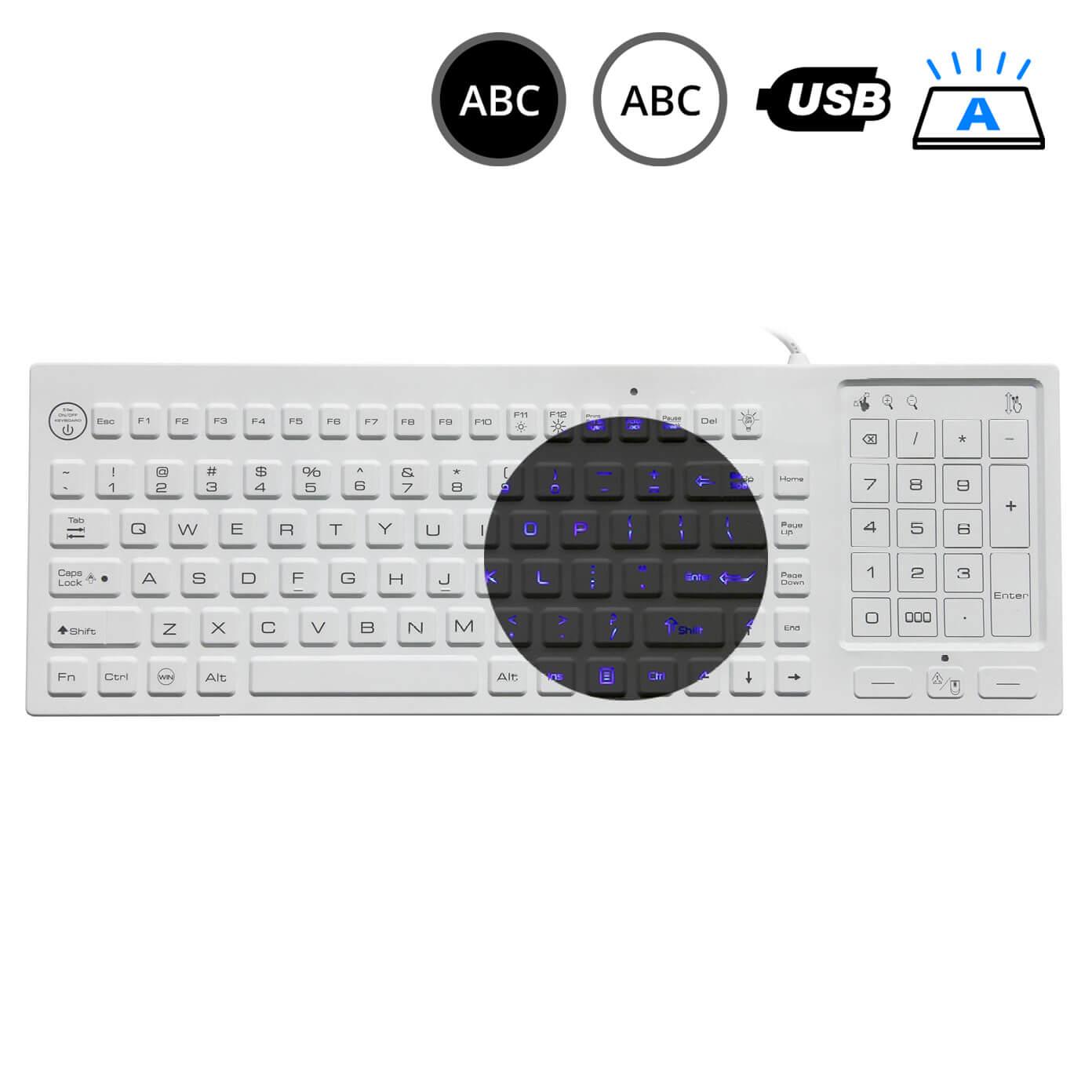 SK318BL - silikonová klávesnice s touchpadem, CZ